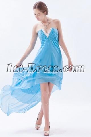 Precious Spring Chiffon Aqua Evening Dress with High-low Hem
