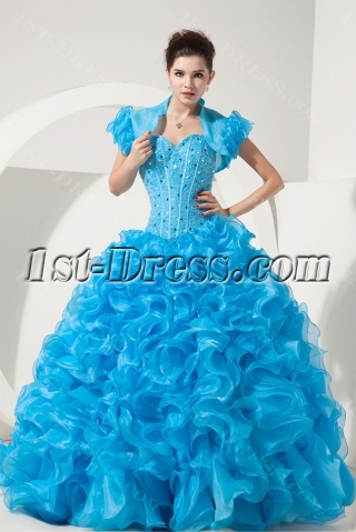 Pretty Turquoise Basque Ball Gown Quinceanera Dress with Short Jacket