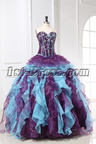 Princess Ruffled Colorful Quinceanera Dresses with Basque