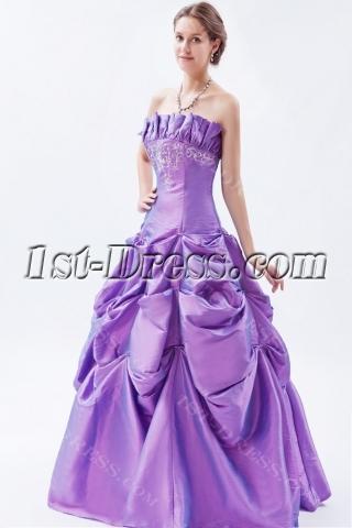 Purple 2011 Strapless Taffeta Embroidery Quinceanera Dresses