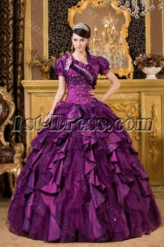 Purple Luxurious One Shoulder 2014 Quince Gown with Match Jacket
