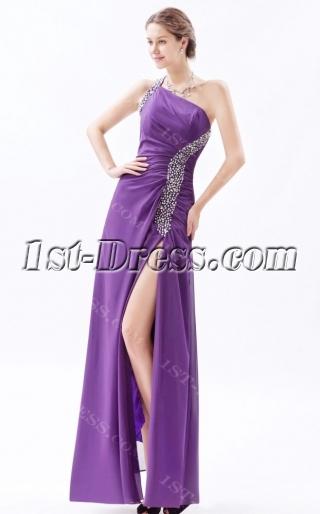 Purple One Shoulder Bridesmaid Dress Long