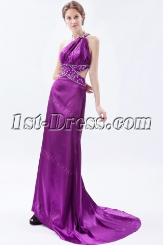 Purple One Shoulder Sexy Open Back Evening Dress with Train