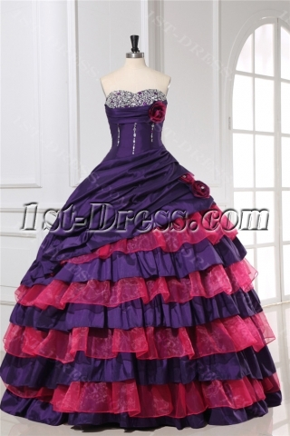 Purple Puffy Colorful Quinceanera Dresses