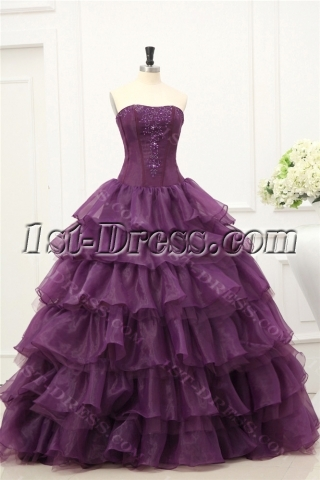 Purple Puffy Long 2011 Quinceanera Dresses