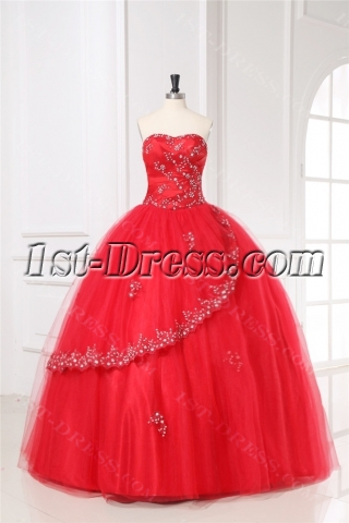 Red Puffy Quinceanera Gown Dress 2011 with Sweetheart