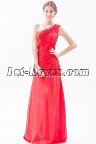 Red Romantic Chiffon Sheath One Shoulder Evening Dress Cheap