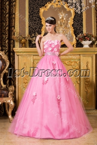 Romantic Pink Long Quinceanera Dresses in Los Angeles
