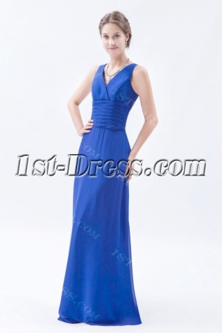 Royal Blue Chiffon Long Mother of Groom Dress with V-neckline