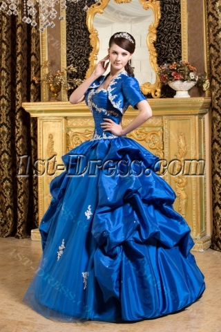 Royal Blue Pretty Quinceanera Dress with Short Jacket
