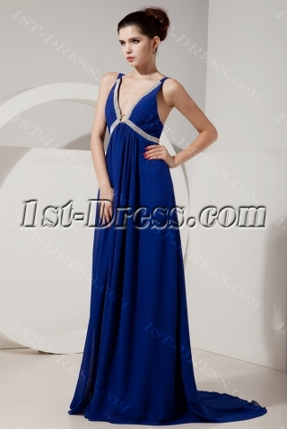 Royal Sexy Plunge Maternity Prom Gowns with Low Back