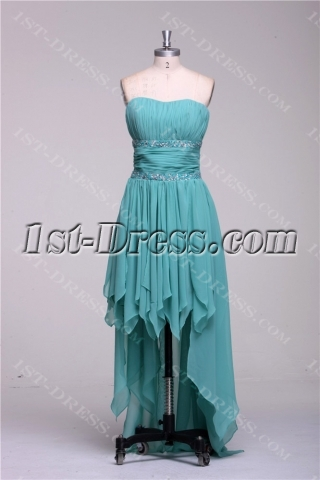Sage High Low Prom Dresses under 200 Dollars