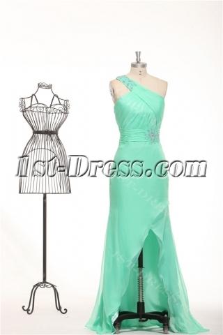 Sage One Shoulder Irregular Cut Graduation Dresses for College