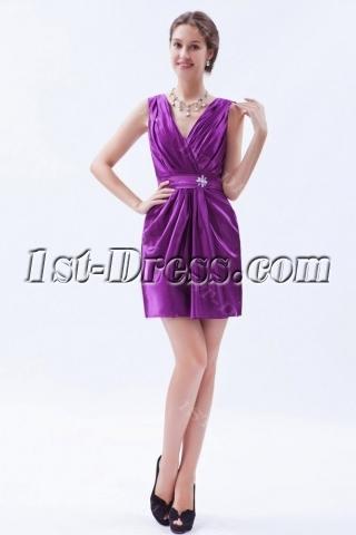 Satin Purple Mini Cocktail Dress with V-neckline