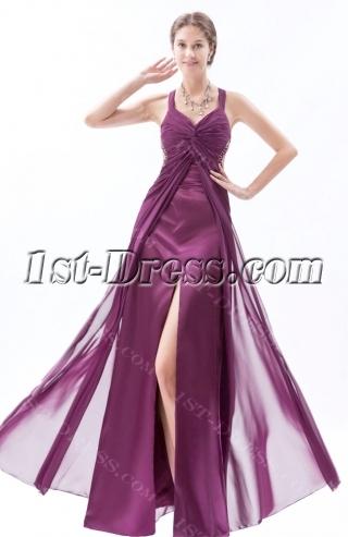 Sexy Dark Purple Maternity Prom Dresses with Crossed Straps