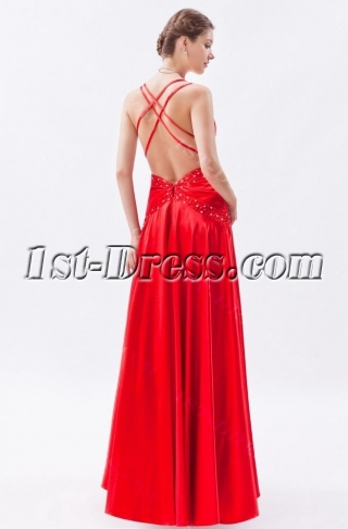 Sexy Red Satin Long Evening Dress with Open Back