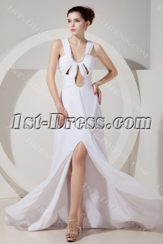 Sexy Summer Chiffon Long Beach Wedding Dress with Slit