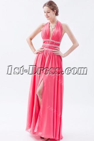 Sexy Watermelon Backless Chiffon Long Prom Dresses