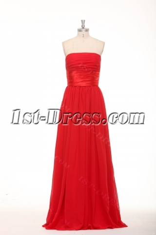 Simple Long Red Chiffon Plus Size Affordable Prom Dresses