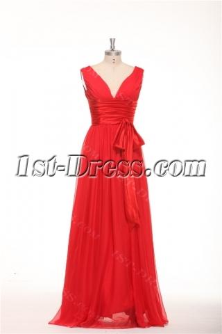 Simple Red Formal Evening Dresses with V-neckline