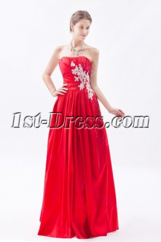 Simple Red Long Taffeta Cheap Quinceanera Gown