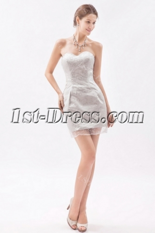 Simple Silver Sweetheart Mini Homecoming Dress