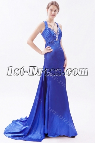 Slit Royal Blue 2014 Prom Dresses with Crossed Straps