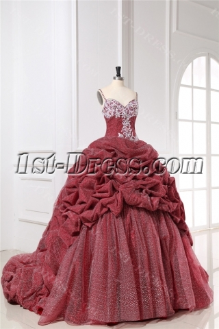 Spaghetti Straps Red Cinderella Quinceanera Gown 2013