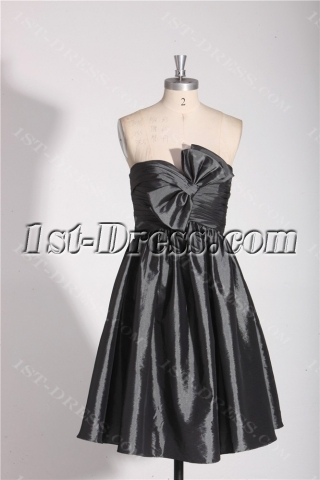 Strapless Short Dark Gray Beach Bridesmaid Dresses