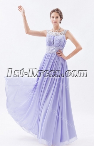Stylish Lavender Long Scoop 2014 Spring Prom Dress