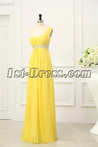 Sunflower Chiffon Evening Dress with One Shoulder