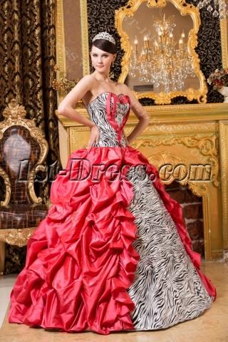 Sweet Gothic Zebra Quinceanera Gown