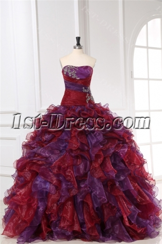 Sweetheart Long Colorful Ruffle Quinceanera Dresses