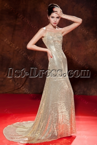 Sweetheart Long Gold Sequin Celebrity Dresses with Train