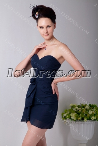 Sweetheart Navy Blue Mini Chiffon Homecoming Dress
