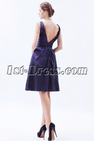 Taffeta Purple Short Homecoming Dress with V Back