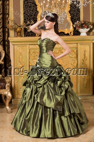 Tasteful Olive Green Quinceanera Dress 2013