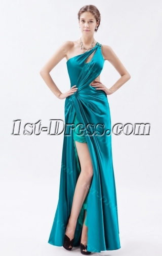 Teal Blue Long Backless Sexy One Shoulder Evening Dress with Slit