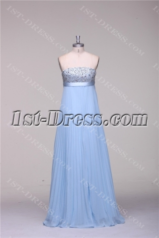 Turquoise Blue Long Pregnant Cheap Evening Dress