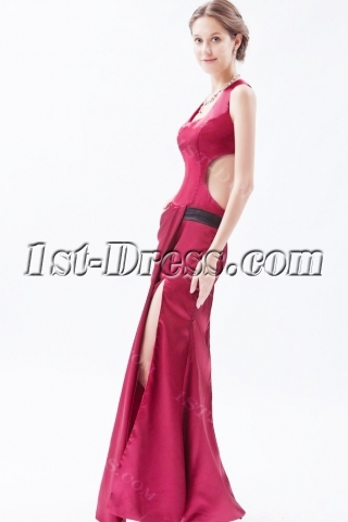 Unique Burgundy Long Satin Homecoming Dress with Criss-cross