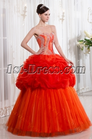 Unique Orange Cute Quinceanera Dress
