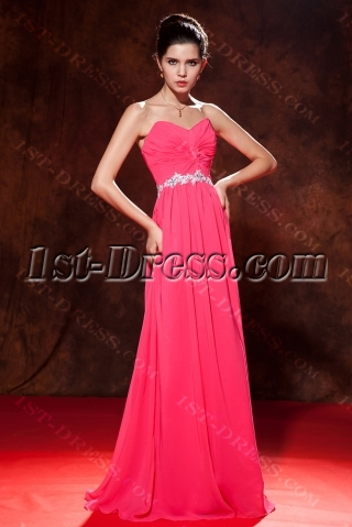 Water Melon Long Sweetheart Chiffon Plus Size Ball Gown Dress