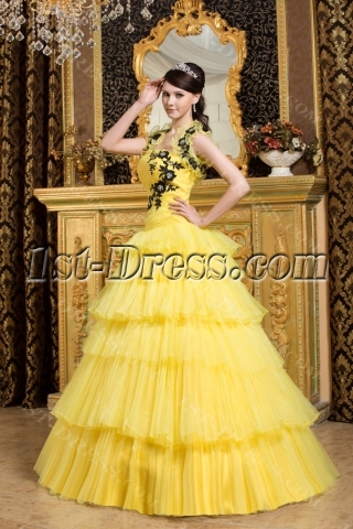 Yellow and Black New Arrival Quinceanera Dress 2013
