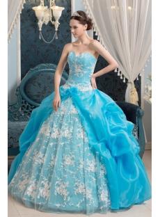 2014 Aqua Traditional Gothic Vestidos de Quinceanera