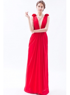 2014 Sexy Red Plunging Long Chiffon Prom dresses
