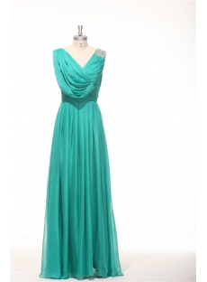 2014 Teal Green Classy Prom Dresses Long