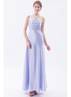 Ankle Length Lavender One Shoulder Prom Dresses under 200