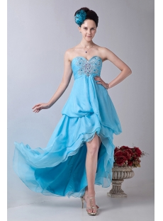 Aqua Chiffon Sweetheart Empire Party Dress with High-Low Hem