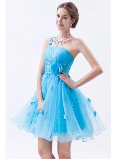 Aqua One-Shoulder Short/Mini Organza Cocktail Dress With Flowers