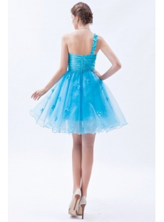 Aqua One-Shoulder Short/Mini Organza Cocktail Dress With Flowers